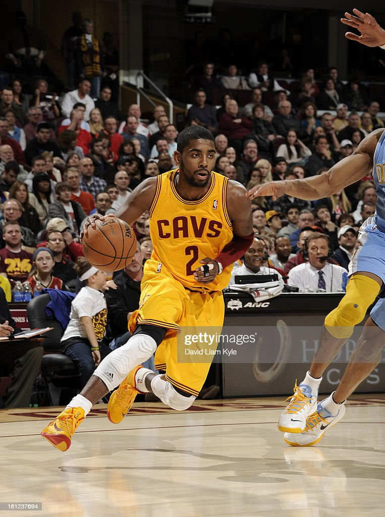 Kyrie Irving #2 of the Cleveland Cavaliers drives to the hoop against the Denver Nuggets at The Quicken Loans Arena on February 9, 2013 in Cleveland, Ohio.