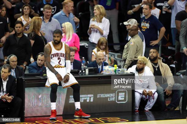 Kyrie Irving of the Cleveland Cavaliers during the game against the Golden State Warriors in Game Four of the 2017 NBA Finals on June 9 2017 at...