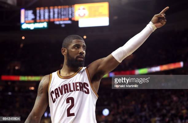 Kyrie Irving of the Cleveland Cavaliers gestures to the crowd in the third quarter against the Golden State Warriors in Game 4 of the 2017 NBA Finals...