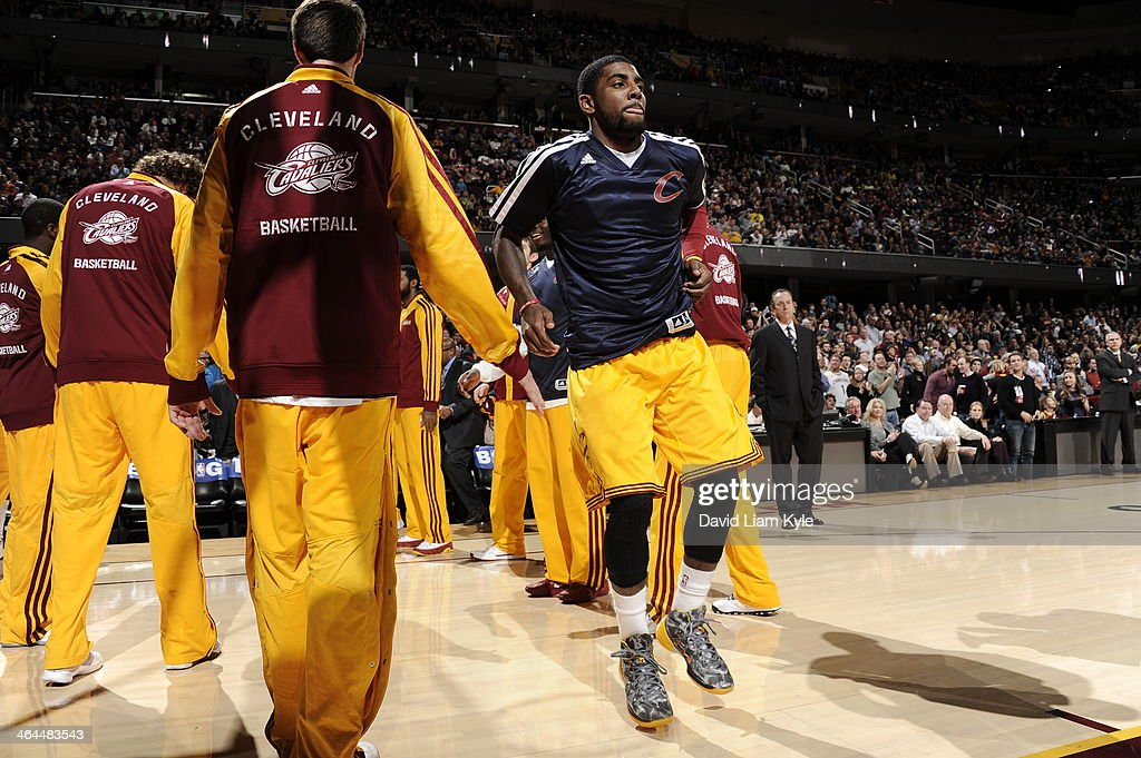<a gi-track='captionPersonalityLinkClicked' href=/galleries/search?phrase=Kyrie+Irving&family=editorial&specificpeople=6893971 ng-click='$event.stopPropagation()'>Kyrie Irving</a> #2 of the Cleveland Cavaliers gets introduced before the game against the Miami Heat at The Quicken Loans Arena on November 27, 2013 in Cleveland, Ohio.