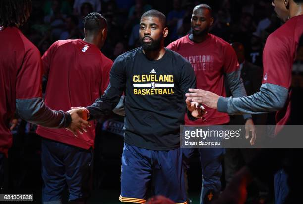 Kyrie Irving of the Cleveland Cavaliers gets introduced in the starting line up before the game against the Boston Celtics during Game One of the...