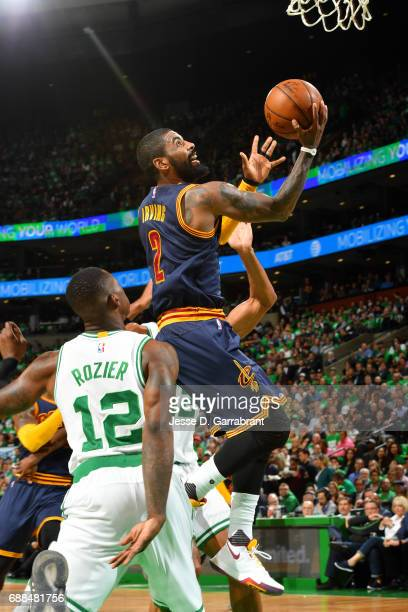 Kyrie Irving of the Cleveland Cavaliers goes for a lay up during the game against the Boston Celtics during Game Five of the Eastern Conference...