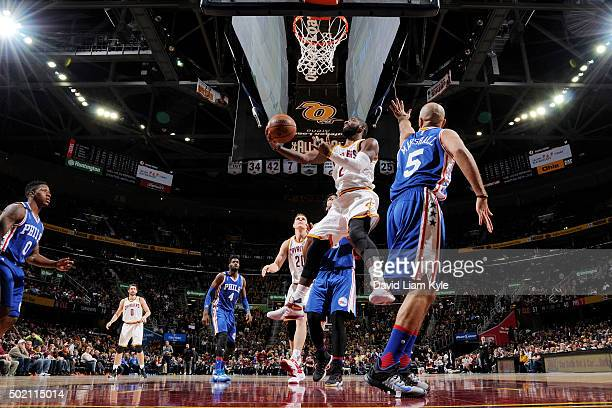 Kyrie Irving of the Cleveland Cavaliers goes for the layup against the Philadelphia 76ers during the game on December 20 2015 at Quicken Loans Arena...