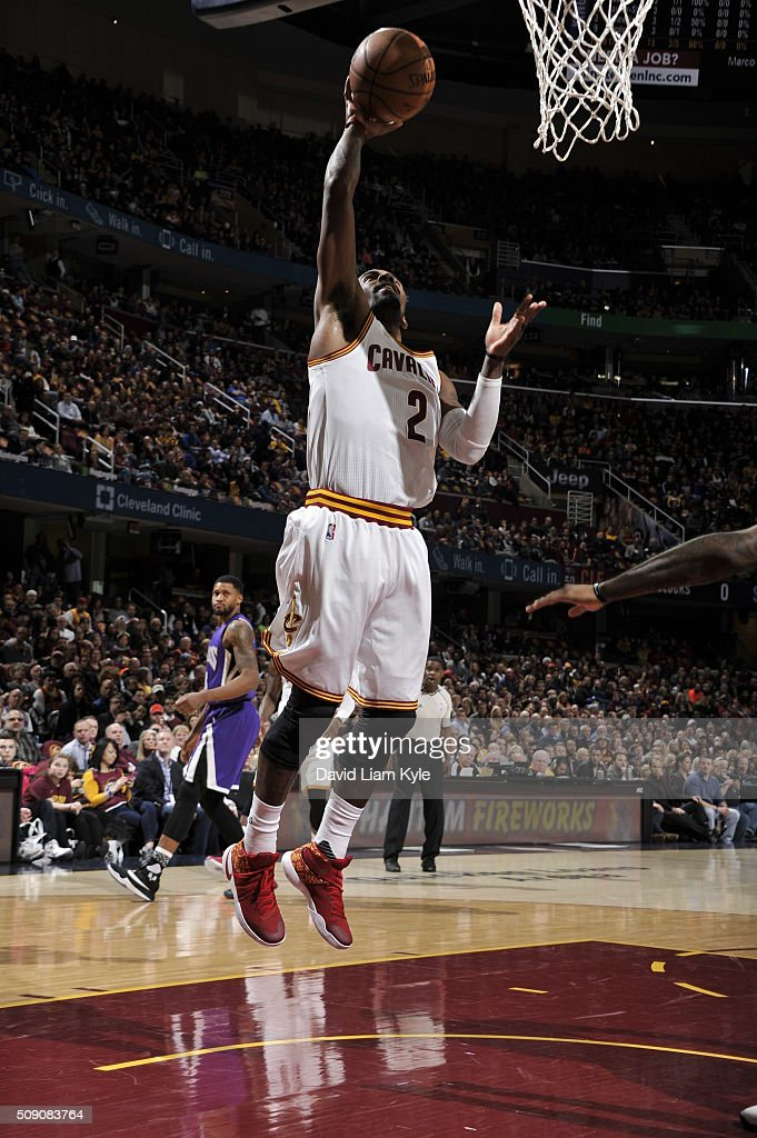 <a gi-track='captionPersonalityLinkClicked' href=/galleries/search?phrase=Kyrie+Irving&family=editorial&specificpeople=6893971 ng-click='$event.stopPropagation()'>Kyrie Irving</a> #2 of the Cleveland Cavaliers goes to the basket against the Sacramento Kings on February 8, 2016 at Quicken Loans Arena in Cleveland, Ohio.
