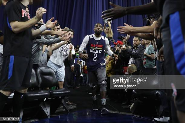 Kyrie Irving of the Cleveland Cavaliers greets fans prior to practice for the 2017 NBA AllStar Game at the MercedesBenz Superdome on February 18 2017...