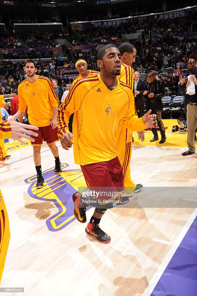 Kyrie Irving #2 of the Cleveland Cavaliers greets teammates before playing against the Los Angeles Lakers at Staples Center on January 13, 2013 in Los Angeles, California.