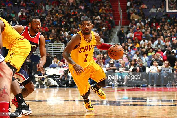 Kyrie Irving of the Cleveland Cavaliers handles the ball against the Washington Wizards on February 28 2016 at Verizon Center in Washington DC NOTE...