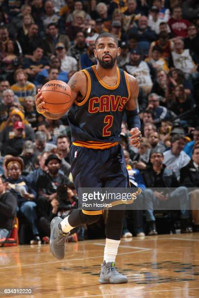Kyrie Irving of the Cleveland Cavaliers handles the ball against the Indiana Pacers on February 8 2017 at Bankers Life Fieldhouse in Indianapolis...