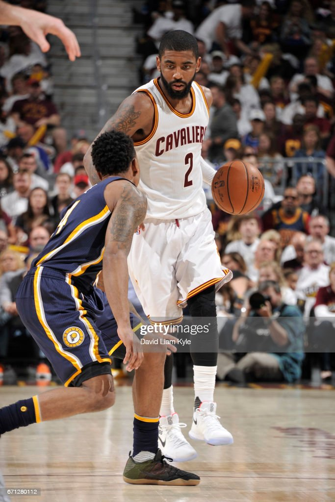 Kyrie Irving #2 of the Cleveland Cavaliers handles the ball against the Indiana Pacers in Round One of the Eastern Conference Playoffs during the 2017 NBA Playoffs on April 15, 2017 at Quicken Loans Arena in Cleveland, Ohio.