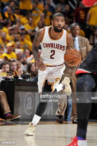 Kyrie Irving of the Cleveland Cavaliers handles the ball against the Toronto Raptors during Game One of the Eastern Conference Semifinals of the 2017...