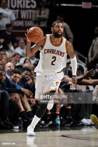 Kyrie Irving of the Cleveland Cavaliers handles the ball during a game against the Indiana Pacers in Round One of the Eastern Conference Playoffs...