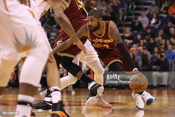 Kyrie Irving of the Cleveland Cavaliers handles the ball during the first half of the NBA game against the Phoenix Suns at Talking Stick Resort Arena...