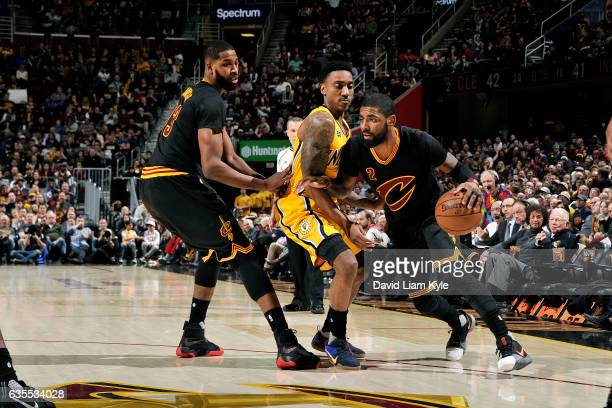 Kyrie Irving of the Cleveland Cavaliers handles the ball during the game against the Indiana Pacers on February 15 2017 at Quicken Loans Arena in...