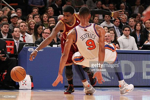 Kyrie Irving of the Cleveland Cavaliers in action against Jared Jeffries of the New York Knicks on February 29 2012 at Madison Square Garden in New...