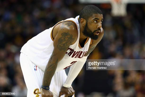 Kyrie Irving of the Cleveland Cavaliers looks on against the Golden State Warriors during the first half of Game 3 of the 2017 NBA Finals at Quicken...