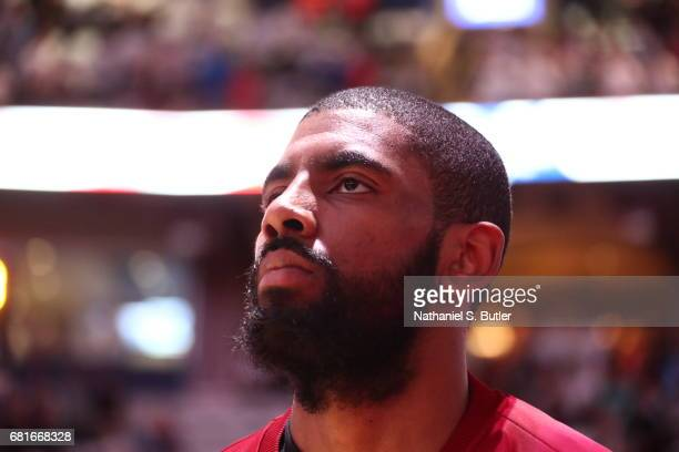 Kyrie Irving of the Cleveland Cavaliers looks on before the game against the Toronto Raptors during Game Three of the Eastern Conference Semifinals...