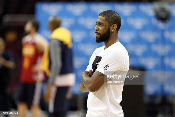 Kyrie Irving of the Cleveland Cavaliers looks on during practice and media availability as part of the 2016 NBA Finals on June 9 2016 at Quicken...