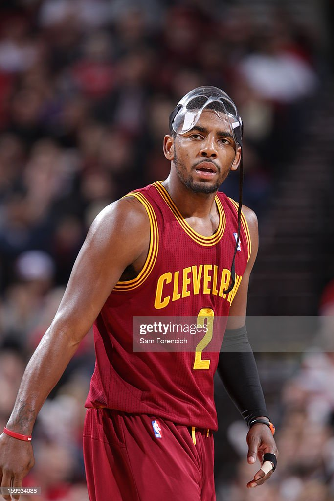 <a gi-track='captionPersonalityLinkClicked' href=/galleries/search?phrase=Kyrie+Irving&family=editorial&specificpeople=6893971 ng-click='$event.stopPropagation()'>Kyrie Irving</a> #2 of the Cleveland Cavaliers looks on during the game against the Portland Trail Blazers on January 16, 2013 at the Rose Garden Arena in Portland, Oregon.