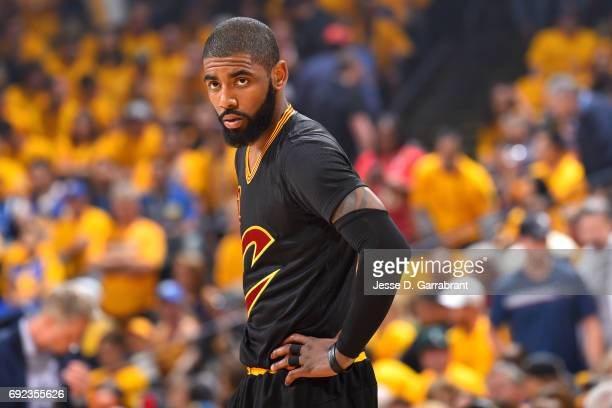 Kyrie Irving of the Cleveland Cavaliers looks on during the game against the Golden State Warriors during Game Two of the 2017 NBA Finals at Oracle...