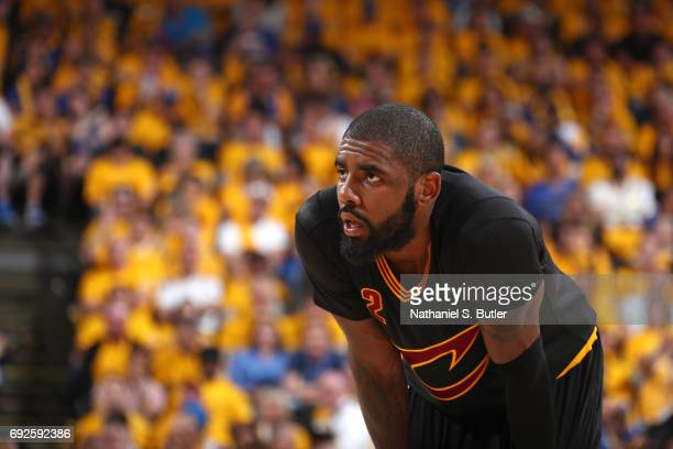 Kyrie Irving of the Cleveland Cavaliers looks on during the game against the Golden State Warriors in Game Two of the 2017 NBA Finals on June 4 2017...