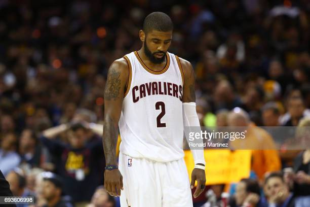 Kyrie Irving of the Cleveland Cavaliers looks on late in the fourth quarter against the Golden State Warriors in Game 3 of the 2017 NBA Finals at...