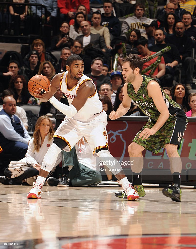 Kyrie Irving #2 of the Cleveland Cavaliers looks to drive to the basket against the Toronto Raptors on January 26, 2013 at the Air Canada Centre in Toronto, Ontario, Canada.