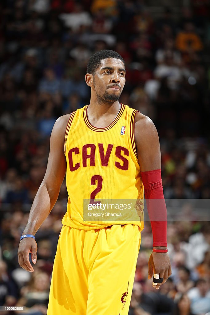 Kyrie Irving #2 of the Cleveland Cavaliers looks to the bench against the Miami Heat at The Quicken Loans Arena on April 15, 2013 in Cleveland, Ohio.