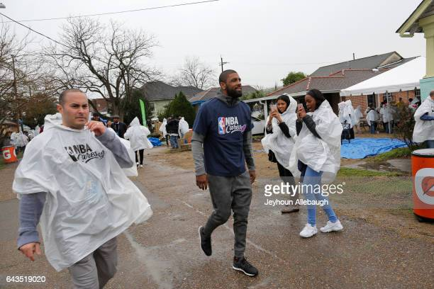 Kyrie Irving of the Cleveland Cavaliers participate during the NBA Cares Day of Service as part of 2017 AllStar Weekend at the KaBOOM Rebuilding...
