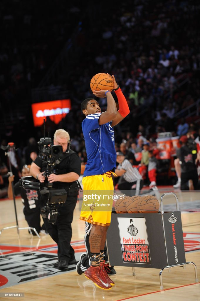 Kyrie Irving #2 of the Cleveland Cavaliers participates during 2013 Foot Locker Three-Point Contest on State Farm All-Star Saturday Night as part of 2013 NBA All-Star Weekend on February 16, 2013 at Toyota Center in Houston, Texas.