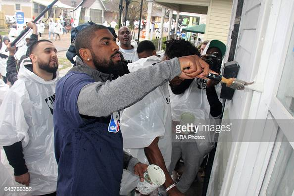 Kyrie Irving of the Cleveland Cavaliers participates during the NBA Cares Day of Service as part of 2017 AllStar Weekend at the KaBOOM Rebuilding...