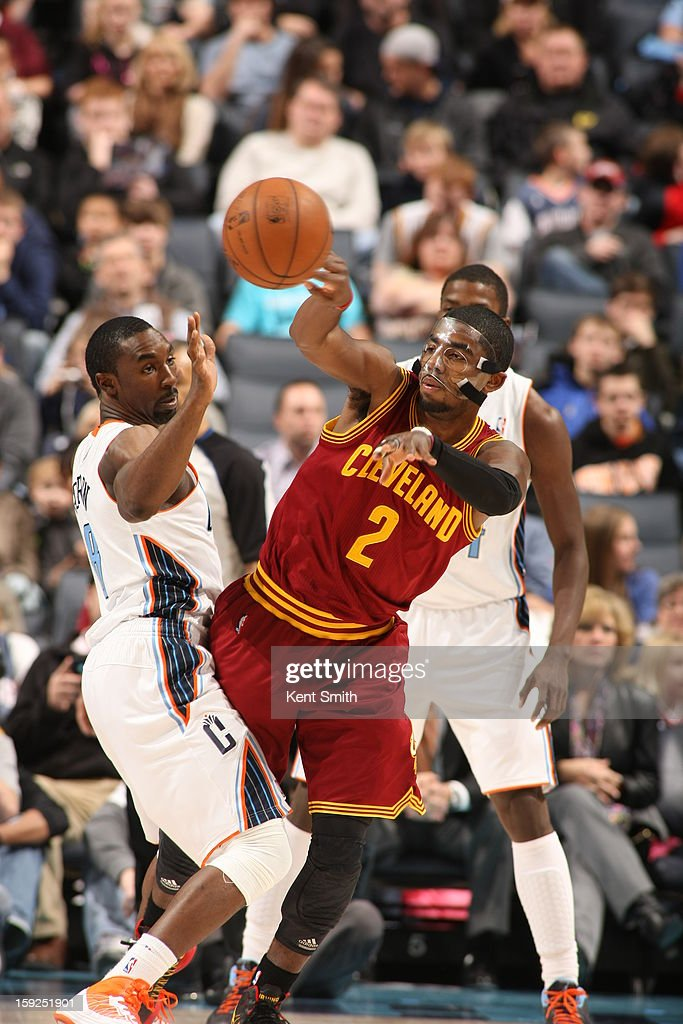 Kyrie Irving #2 of the Cleveland Cavaliers passes the ball against the Charlotte Bobcats at the Time Warner Cable Arena on January 4, 2013 in Charlotte, North Carolina.