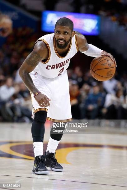 Kyrie Irving of the Cleveland Cavaliers plays against the Miami Heat at Quicken Loans Arena on March 6 2017 in Cleveland Ohio Miami won the game...