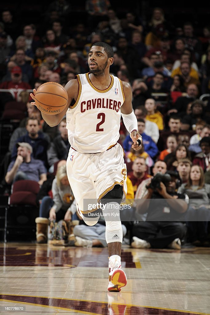 <a gi-track='captionPersonalityLinkClicked' href=/galleries/search?phrase=Kyrie+Irving&family=editorial&specificpeople=6893971 ng-click='$event.stopPropagation()'>Kyrie Irving</a> #2 of the Cleveland Cavaliers pushes the ball up-court against the Orlando Magic at The Quicken Loans Arena on February 8, 2013 in Cleveland, Ohio.