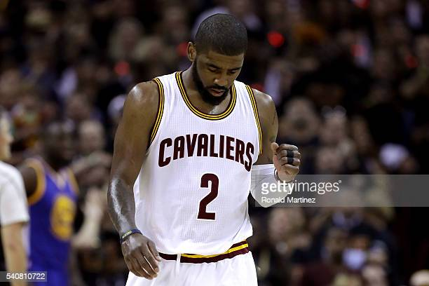 Kyrie Irving of the Cleveland Cavaliers reacts after a play in the first half against the Golden State Warriors in Game 6 of the 2016 NBA Finals at...