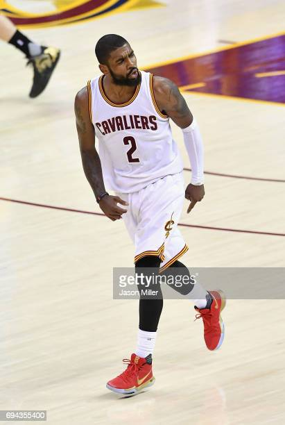 Kyrie Irving of the Cleveland Cavaliers reacts after a play in the fourth quarter against the Golden State Warriors in Game 4 of the 2017 NBA Finals...