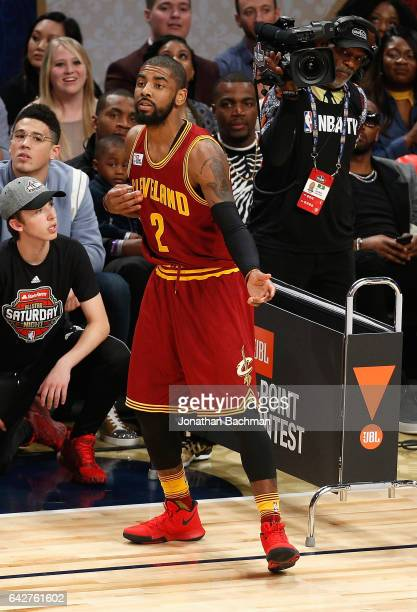 Kyrie Irving of the Cleveland Cavaliers reacts during the 2017 JBL ThreePoint Contest at Smoothie King Center on February 18 2017 in New Orleans...