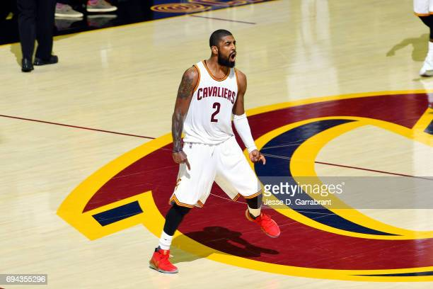 Kyrie Irving of the Cleveland Cavaliers reacts during the game against the Golden State Warriors in Game Four of the 2017 NBA Finals on June 9 2017...