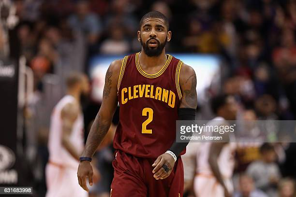 Kyrie Irving of the Cleveland Cavaliers reacts during the NBA game against the Phoenix Suns at Talking Stick Resort Arena on January 8 2017 in...
