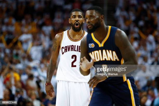 Kyrie Irving of the Cleveland Cavaliers reacts in the direction of Lance Stephenson of the Indiana Pacers after a second half basket in Game Two of...