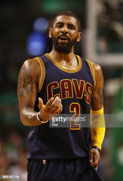 Kyrie Irving of the Cleveland Cavaliers reacts in the second half against the Boston Celtics during Game Five of the 2017 NBA Eastern Conference...