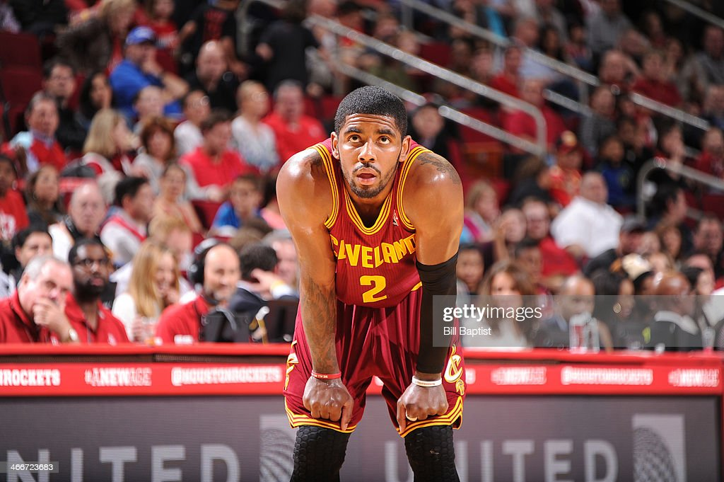 <a gi-track='captionPersonalityLinkClicked' href=/galleries/search?phrase=Kyrie+Irving&family=editorial&specificpeople=6893971 ng-click='$event.stopPropagation()'>Kyrie Irving</a> #2 of the Cleveland Cavaliers reacts to a play against the Houston Rockets on February 1, 2014 at the Toyota Center in Houston, Texas.
