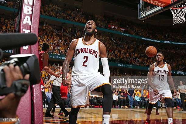 Kyrie Irving of the Cleveland Cavaliers reacts to a play in Game One of the Eastern Conference Semifinals against the Chicago Bulls during the 2015...
