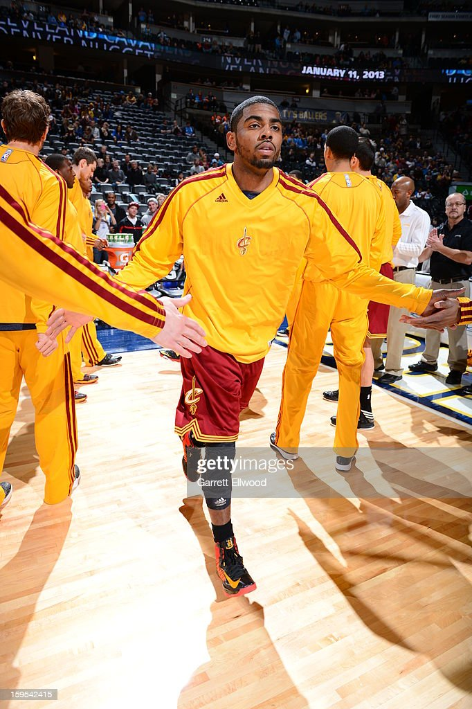<a gi-track='captionPersonalityLinkClicked' href=/galleries/search?phrase=Kyrie+Irving&family=editorial&specificpeople=6893971 ng-click='$event.stopPropagation()'>Kyrie Irving</a> #2 of the Cleveland Cavaliers runs out before the game against the Denver Nuggets on January 11, 2013 at the Pepsi Center in Denver, Colorado.