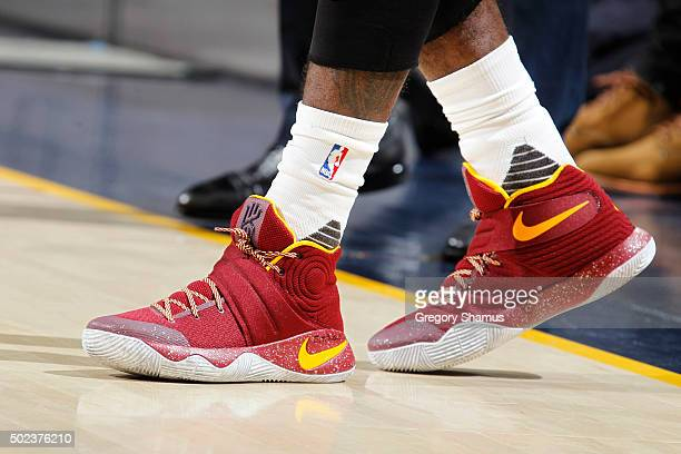 Kyrie Irving of the Cleveland Cavaliers shoes are seen during the game against the New York Knicks on December 23 2015 at Quicken Loans Arena in...