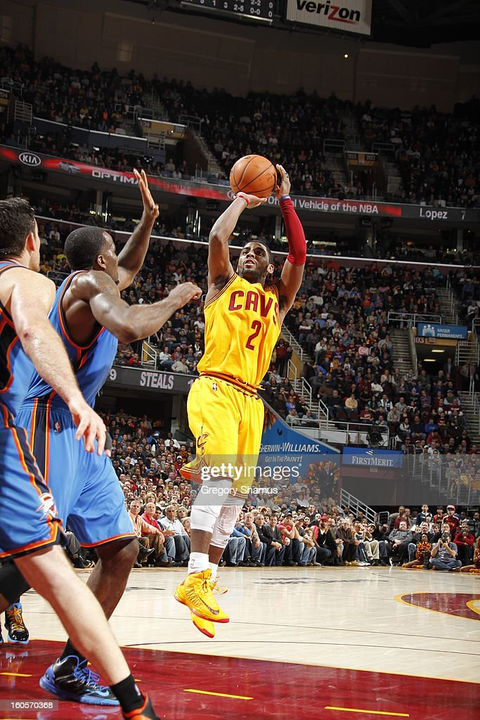 Kyrie Irving #2 of the Cleveland Cavaliers shoots a fade away against the Oklahoma City Thunder at The Quicken Loans Arena on February 2, 2013 in Cleveland, Ohio.