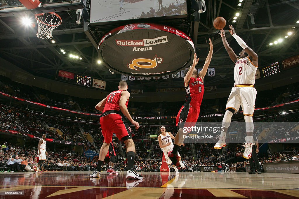 <a gi-track='captionPersonalityLinkClicked' href=/galleries/search?phrase=Kyrie+Irving&family=editorial&specificpeople=6893971 ng-click='$event.stopPropagation()'>Kyrie Irving</a> #2 of the Cleveland Cavaliers shoots a jumper against <a gi-track='captionPersonalityLinkClicked' href=/galleries/search?phrase=Jose+Calderon&family=editorial&specificpeople=548297 ng-click='$event.stopPropagation()'>Jose Calderon</a> #8 of the Toronto Raptors at The Quicken Loans Arena on December 18, 2012 in Cleveland, Ohio.