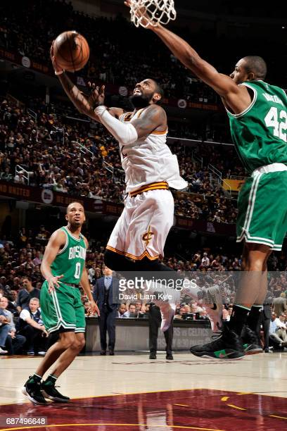Kyrie Irving of the Cleveland Cavaliers shoots a lay up during the game against the Boston Celtics in Game Four of the Eastern Conference Finals of...