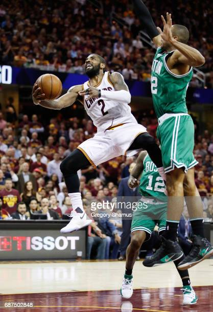 Kyrie Irving of the Cleveland Cavaliers shoots against Al Horford of the Boston Celtics late in the third quarter during Game Four of the 2017 NBA...