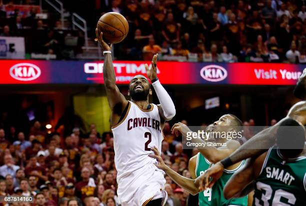 Kyrie Irving of the Cleveland Cavaliers shoots against the Boston Celtics in the second half during Game Four of the 2017 NBA Eastern Conference...
