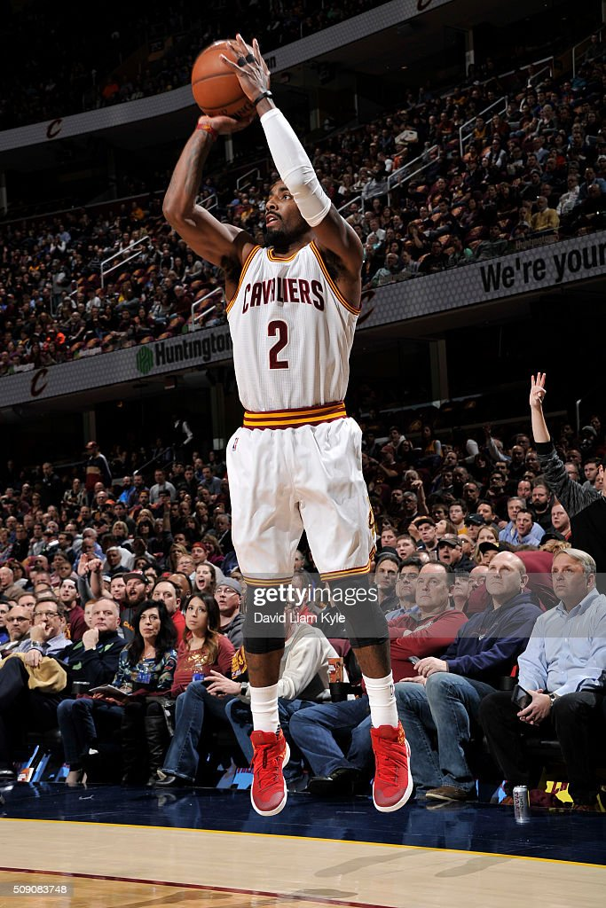 <a gi-track='captionPersonalityLinkClicked' href=/galleries/search?phrase=Kyrie+Irving&family=editorial&specificpeople=6893971 ng-click='$event.stopPropagation()'>Kyrie Irving</a> #2 of the Cleveland Cavaliers shoots against the Sacramento Kings on February 8, 2016 at Quicken Loans Arena in Cleveland, Ohio.